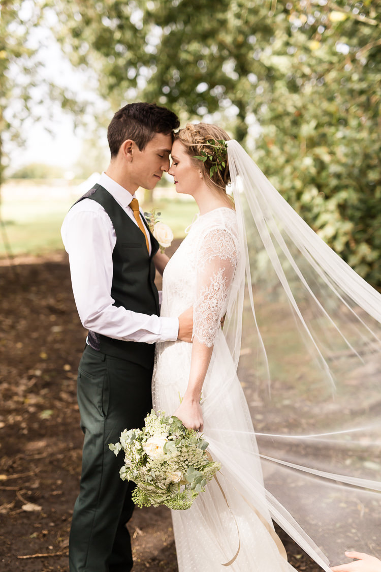 Lace Polka Dot Tulle Dress Bride Bridal Gown Flowing Boho Veil Organic Rustic Greenery Wedding Ideas http://sarahbrookesphotography.com/