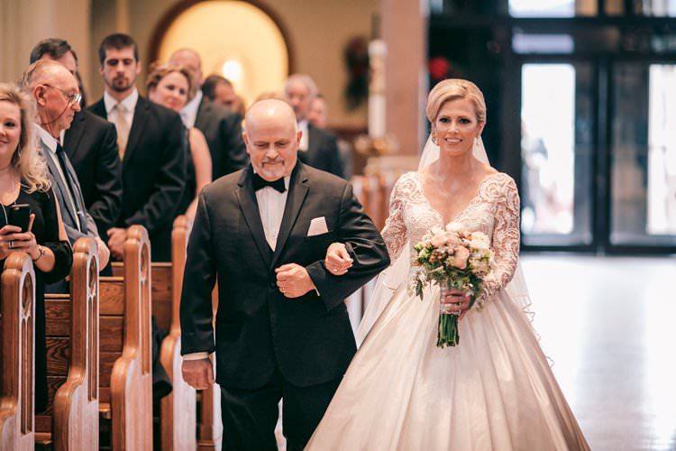 Winter Father Bride Aisle Church Ceremony Updo Long Sleeves | Festive Glamour Christmas New Years Eve Wedding http://www.stevendrayimages.com/
