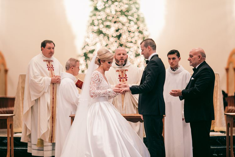 Ceremony Rings Tree Church Cathedral Decor Bride Groom | Festive Glamour Christmas New Years Eve Wedding http://www.stevendrayimages.com/