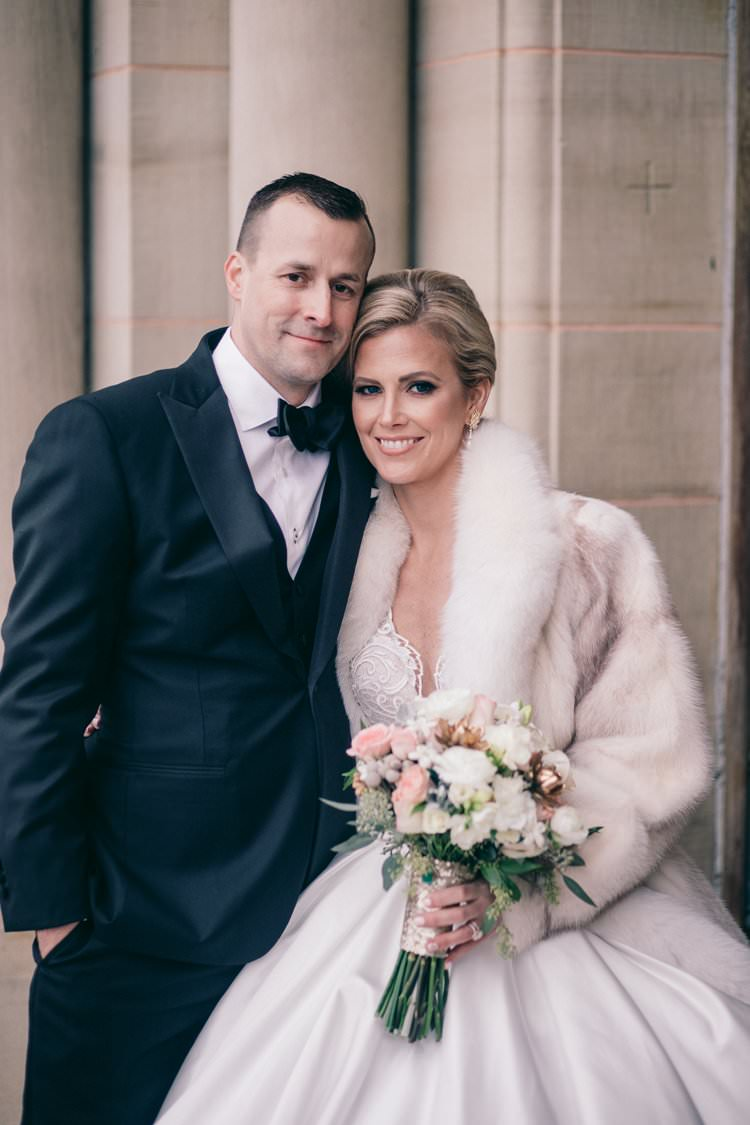 Winter Bride Fur Coat Groom Navy Suit Sequin Blush Bouquet | Festive Glamour Christmas New Years Eve Wedding http://www.stevendrayimages.com/