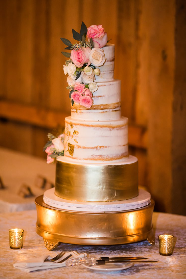 Gold Pink White Semi Naked Cake Fresh Flowers | Festive Glamour Christmas New Years Eve Wedding http://www.stevendrayimages.com/