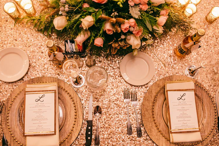 White Gold Glass Perspex Wood Charger Plates Decor Sequin Table Cloth | Festive Glamour Christmas New Years Eve Wedding http://www.stevendrayimages.com/