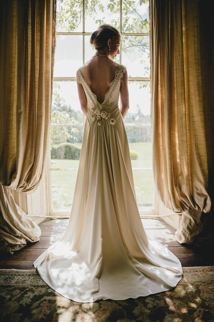 Dress Gown Bride Bridal Train Flowers Back Romantic Luxe Wedding Ideas in the Country http://benjaminmathers.co.uk/