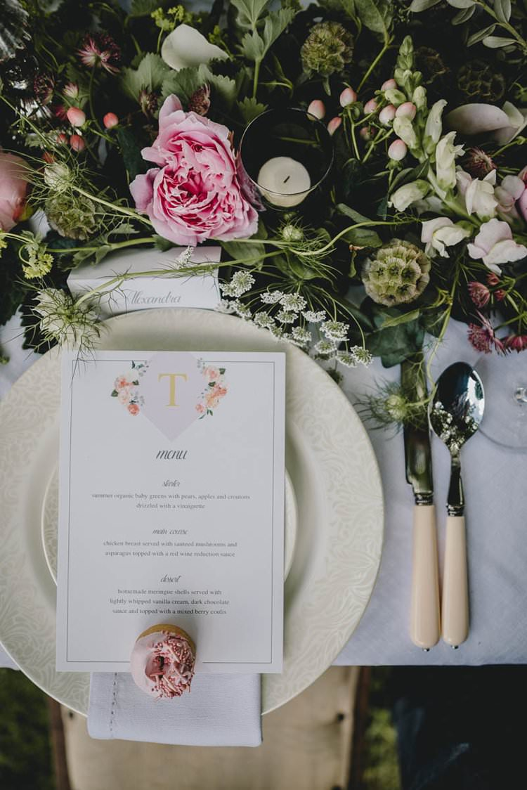 Place Setting Flowers Menu Pink Gold Donut Romantic Luxe Wedding Ideas in the Country http://benjaminmathers.co.uk/