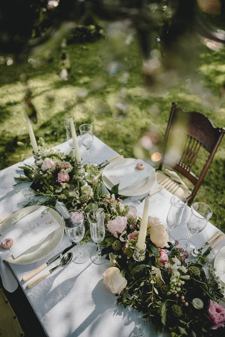 Table Tablescape Decor Flowers Pink Flowers Peony Peonies Hydrangea Rose Table Garland Swag Greenery Romantic Luxe Wedding Ideas in the Country http://benjaminmathers.co.uk/