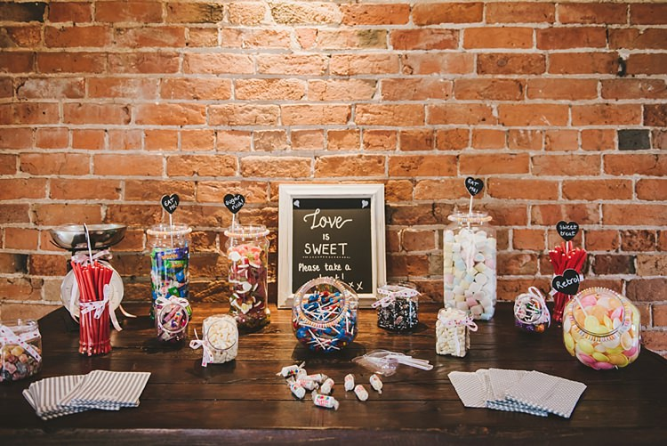 Sweets Sweetie Table Untraditional Pretty Travel Barn Wedding https://www.georgimabee.com/
