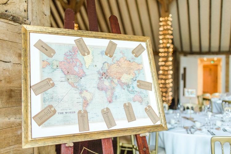 Map Travel Seating Plan Table Chart Pastels Gold Pretty Summer Barn Wedding http://summerlilystudio.com/
