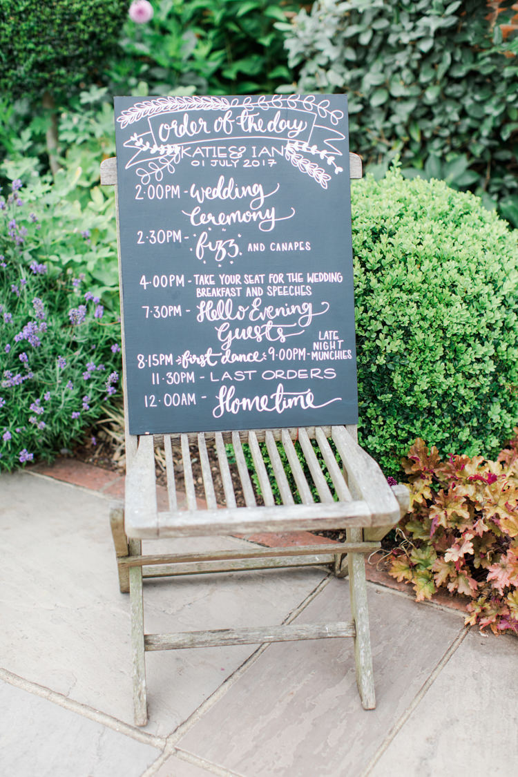 Chalk Black Board Sign Order Day Pastels Gold Pretty Summer Barn Wedding http://summerlilystudio.com/
