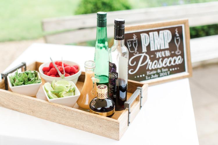 Pimp Prosecco Bar Drinks Pastels Gold Pretty Summer Barn Wedding http://summerlilystudio.com/