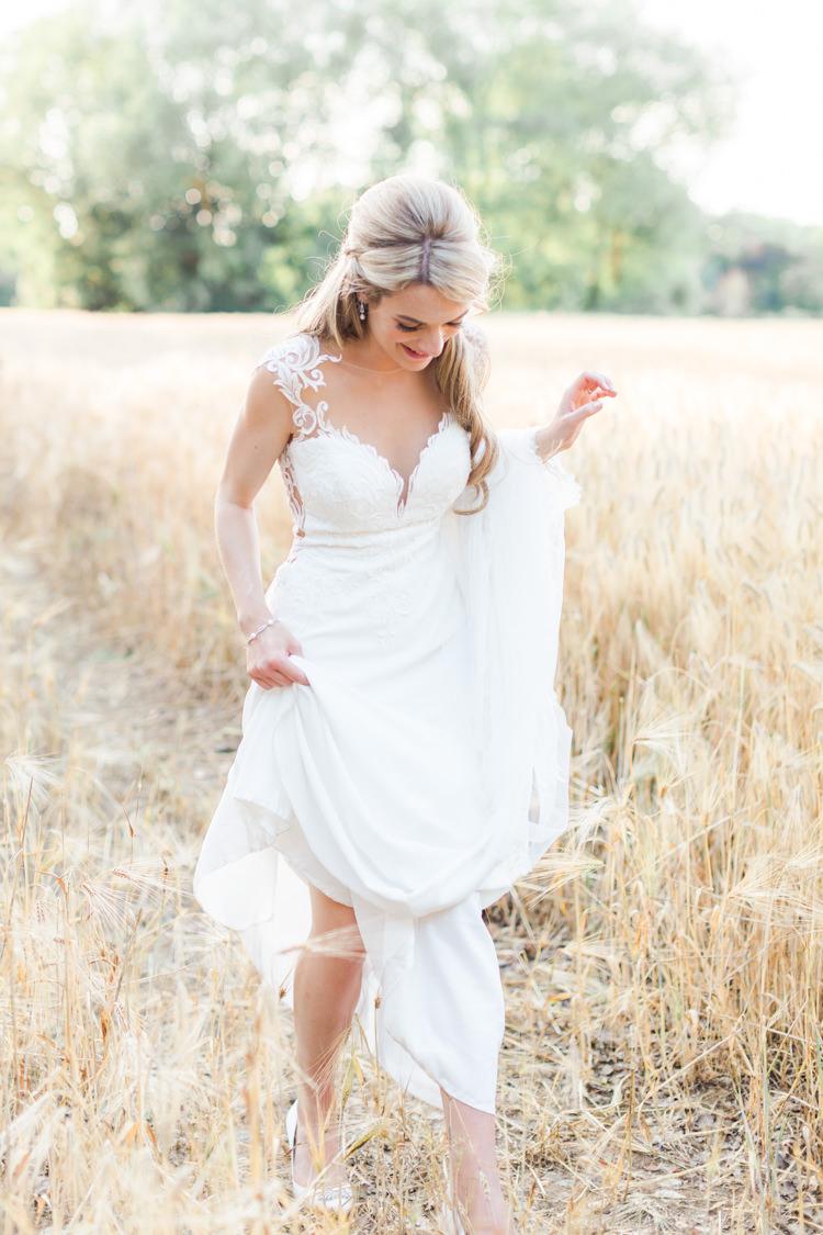 Dando London Bride Bridal Dress Gown Lace Plunge Straps Pastels Gold Pretty Summer Barn Wedding http://summerlilystudio.com/