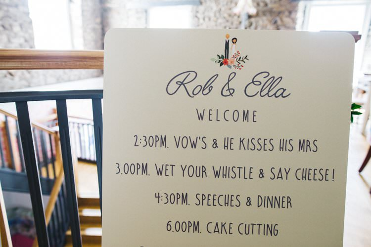 Order of the Day Timetable Modern Calligraphy Colourful Floral Family Friendly Wedding http://www.sallytphoto.com/