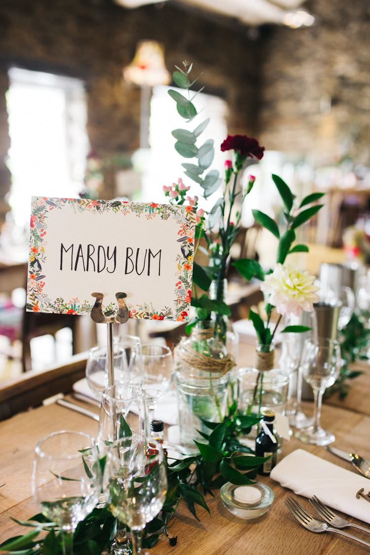 Table Name Centre Foliage Jars Bottles Glass Mismatched Twine Eucalyptus Colourful Floral Family Friendly Wedding http://www.sallytphoto.com/