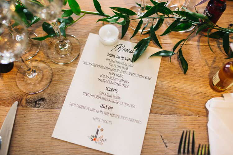 Bespoke Menu Modern Calligraphy Table Runner Foliage Colourful Floral Family Friendly Wedding http://www.sallytphoto.com/