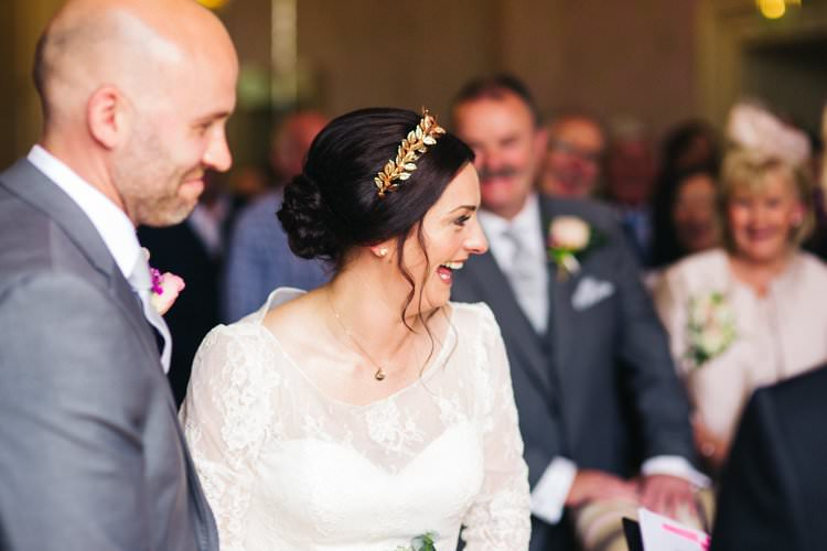 Long Sleeve Lace Dress Gown Bride Bridal Louise Bentley Rose Gold Crown Hairpiece Grey Suit Groom Colourful Floral Family Friendly Wedding http://www.sallytphoto.com/