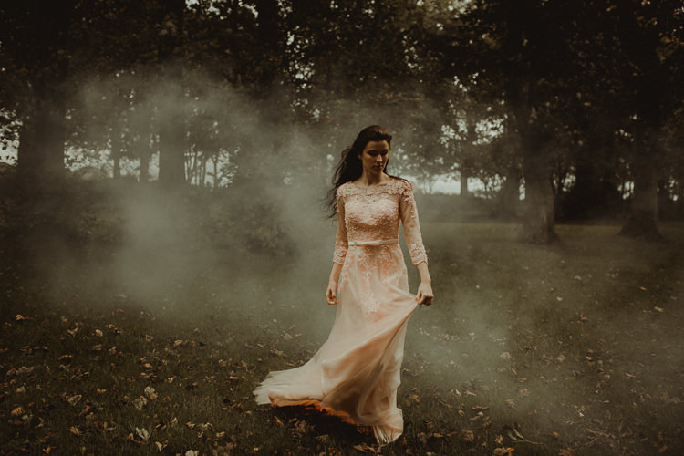 Smoke Bombs Moody Ethereal Winter Woodland Wedding Ideas http://belleartphotography.co.uk/
