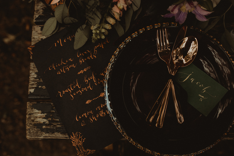 Table Decoration Tablescape Place Setting Gold Calligraphy Stationery Flowers Black Red Greenery  Moody Ethereal Winter Woodland Wedding Ideas http://belleartphotography.co.uk/