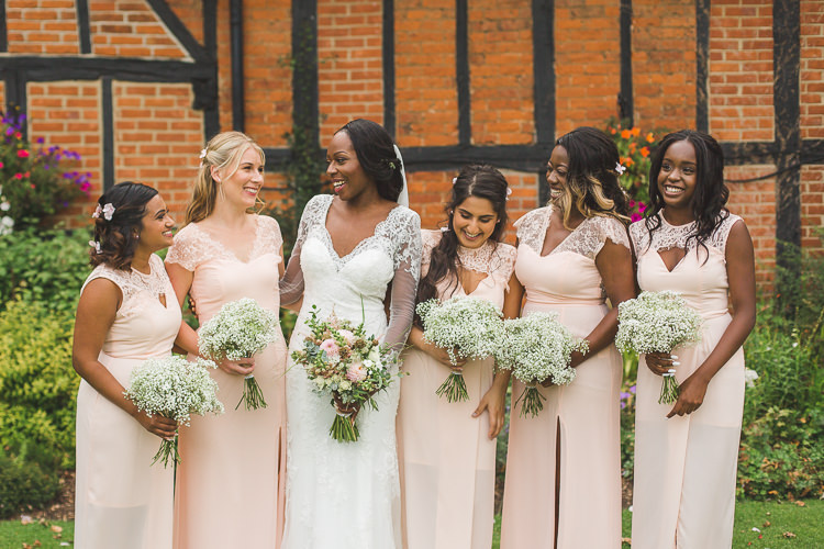Bride Bridal Maggie Sottero Long Sleeved Lace Dress Sweetheart Bridesmaids Pink Blush Split Bouquet Whimsical Romantic Barn Wedding http://kirstymackenziephotography.co.uk/