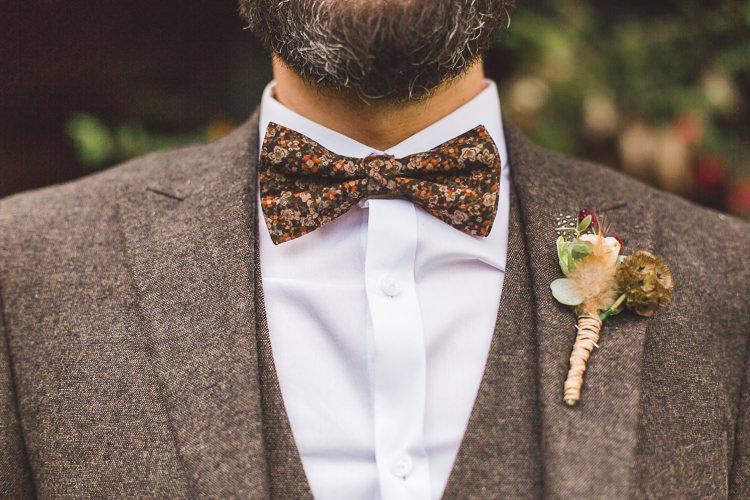 Groom Brown Tweed Suit Three Piece Waistcoat Bow Tie Paisley Whimsical Romantic Barn Wedding http://kirstymackenziephotography.co.uk/