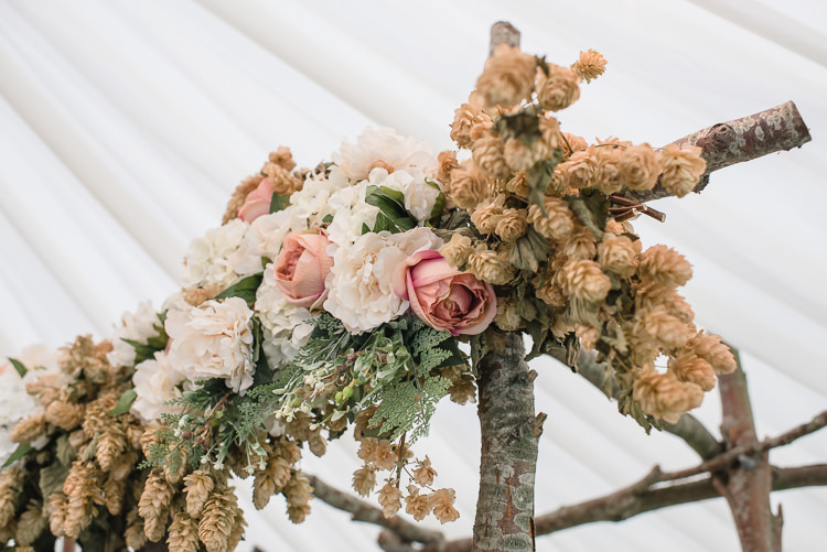 Ceremony Backdrop Arbour Rose Flower Floral Hops Tree Wooden Personal Homegrown Country Farm Wedding https://www.emmahare.com/