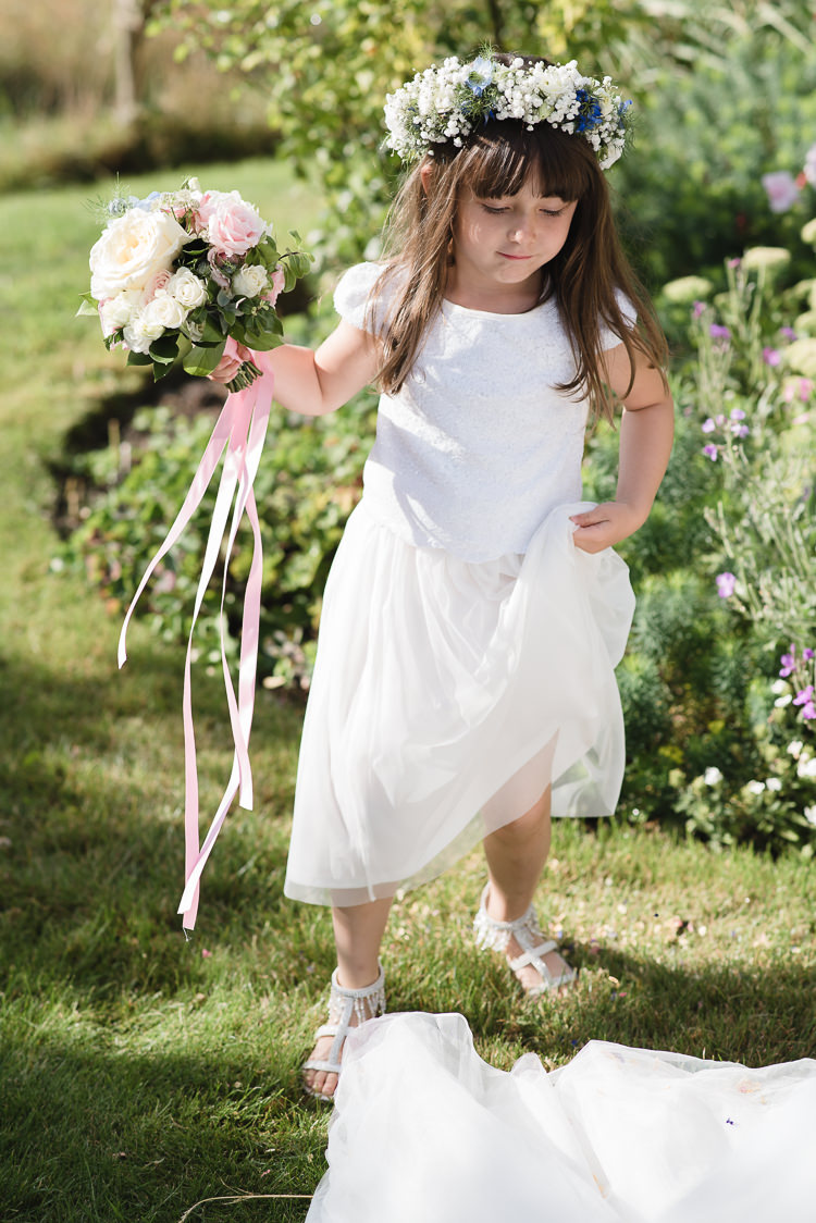 Flower Girl Two Piece Floral Crown Ribbon White Personal Homegrown Country Farm Wedding https://www.emmahare.com/