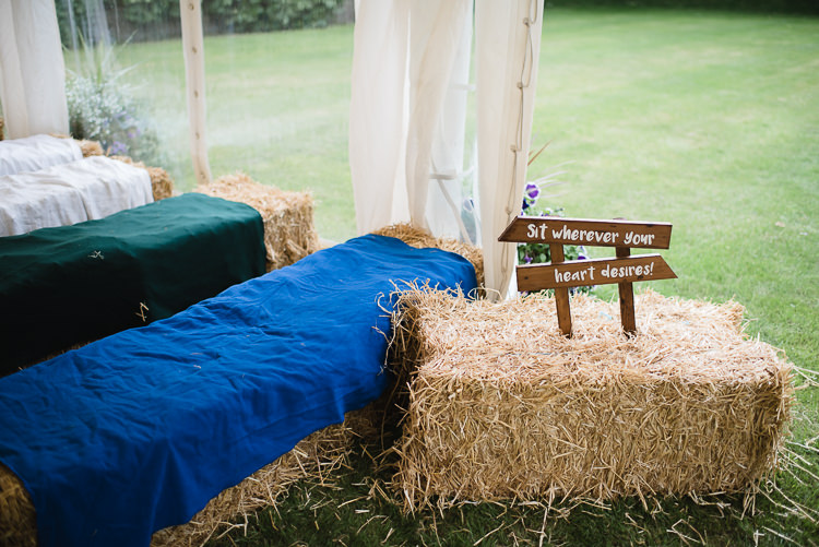 Ceremony Hay Bale Rug Personal Homegrown Country Farm Wedding https://www.emmahare.com/