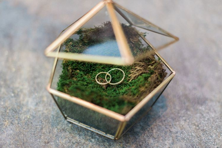 Geometric Gold Ring Glass Box Green Moss | Greenery Botanical Wedding Ideas https://lisadigiglio.com/