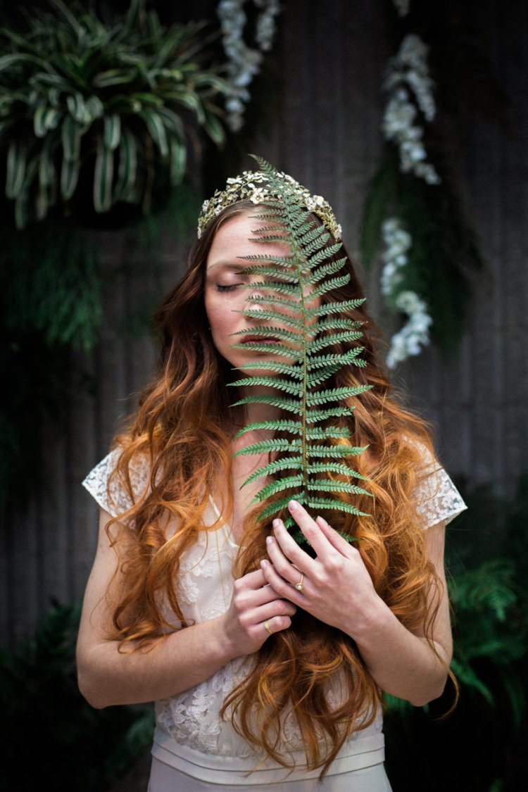 Red Long Hair Bride Gold Crown Headpiece Fine Art Fern Conservatory | Greenery Botanical Wedding Ideas https://lisadigiglio.com/