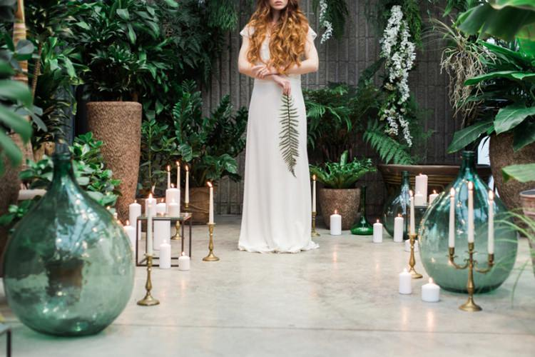 Red Long Hair Bride Dress Lace Fine Art Fern Conservatory Candles Green Glass | Greenery Botanical Wedding Ideas https://lisadigiglio.com/