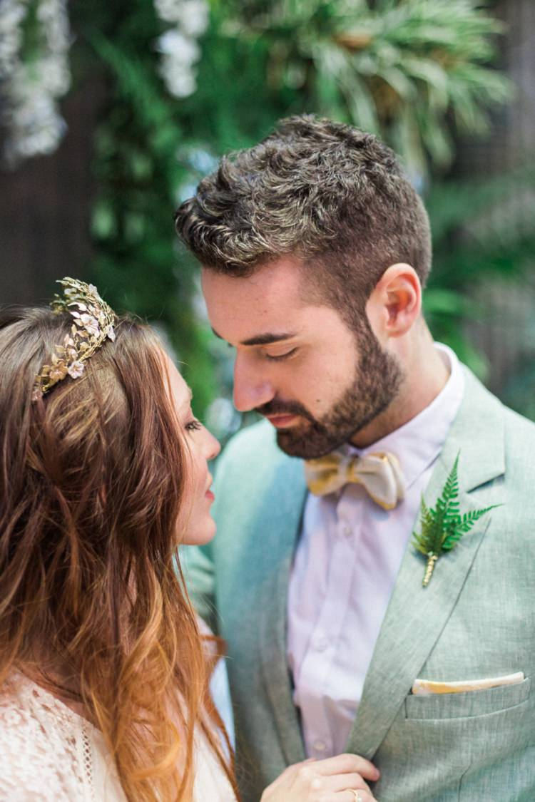 Conservatory Bride Fine Art Green Suit Foliage Buttonhole Gold Crown Headpiece | Greenery Botanical Wedding Ideas https://lisadigiglio.com/