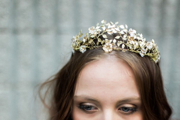 Bride Long Hair Gold Headpiece Crown Flowers Leaves Fine Art | Greenery Botanical Wedding Ideas https://lisadigiglio.com/
