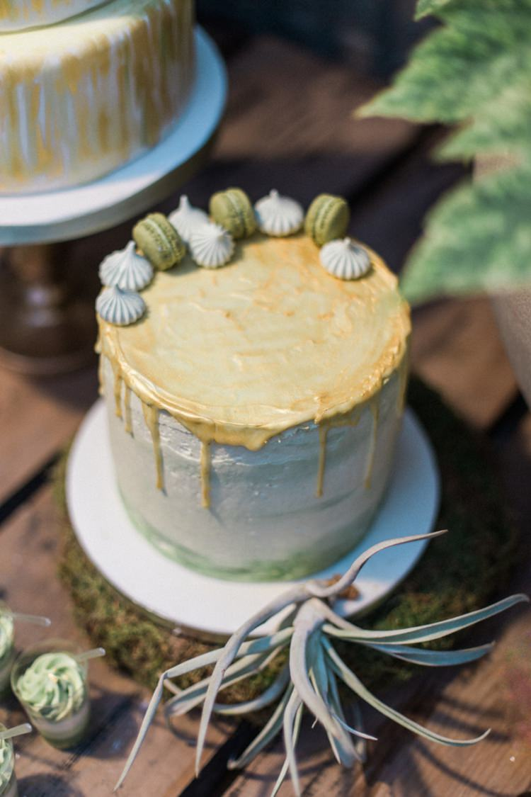 Conservatory Cake Green Gold Ferns Foliage Simple Natural White Fresh Macaroons | Greenery Botanical Wedding Ideas https://lisadigiglio.com/