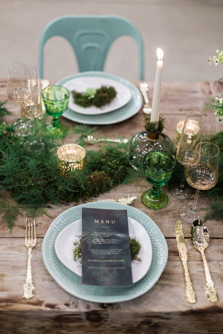 Conservatory Wood Table Moss Gold Ferns Foliage Simple Natural White Gold | Greenery Botanical Wedding Ideas https://lisadigiglio.com/