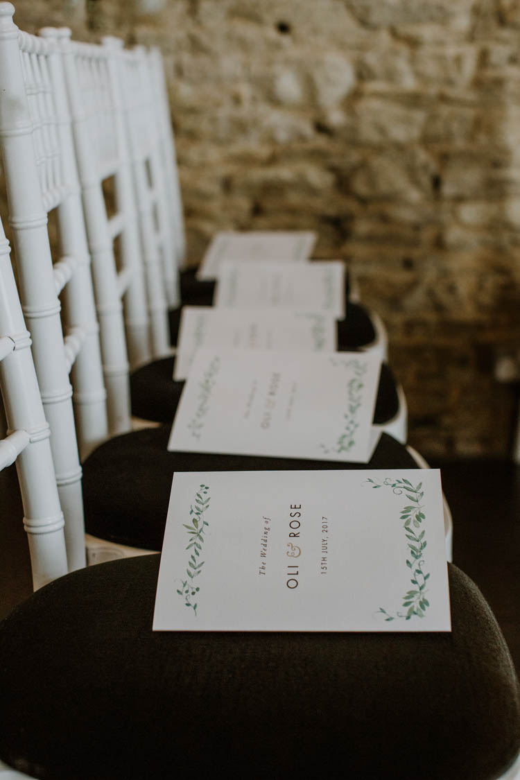 Stationery Botanical Greenery Order Service Booklet Unconventional Country Cotswolds Barn Wedding http://www.alexandrajane.co.uk/
