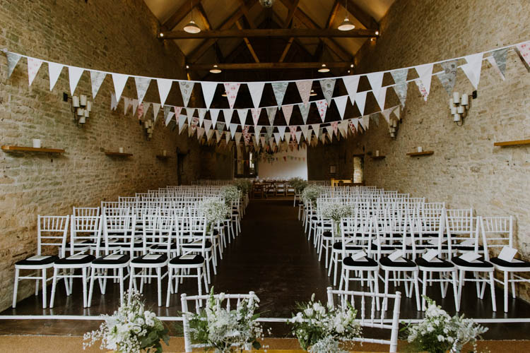 Ceremony Room Bunting Unconventional Country Cotswolds Barn Wedding http://www.alexandrajane.co.uk/