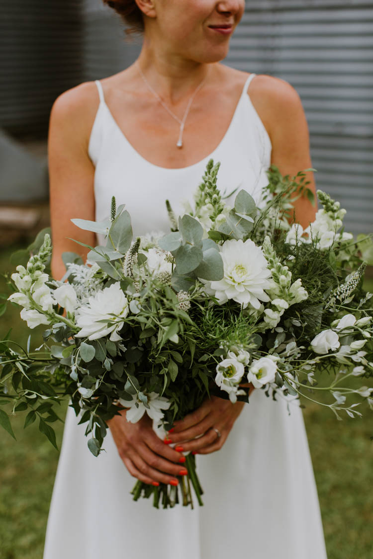 Bouquets Flowers Bride Bridal Greenery Foliage White Green Unconventional Country Cotswolds Barn Wedding http://www.alexandrajane.co.uk/