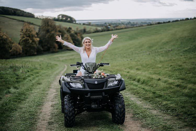 Quad Bike Transport Bride Rustic Peaky Blinders Vineyard Wedding Yorkshire https://www.kazooieloki.co.uk/