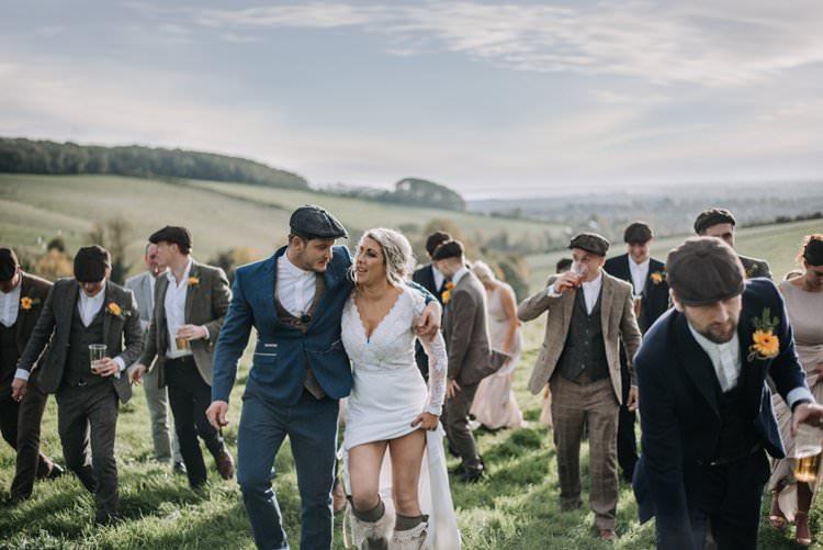 Groom Groomsmen Suits Tweed Flat Caps No Ties Shirts Rustic Peaky Blinders Vineyard Wedding Yorkshire https://www.kazooieloki.co.uk/