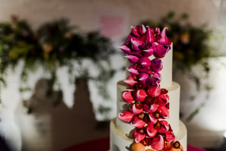Cake Tiered Meringue Kisses Trailing Bright Very Colourful Quirky Fun City Wedding London http://www.babbphoto.com/