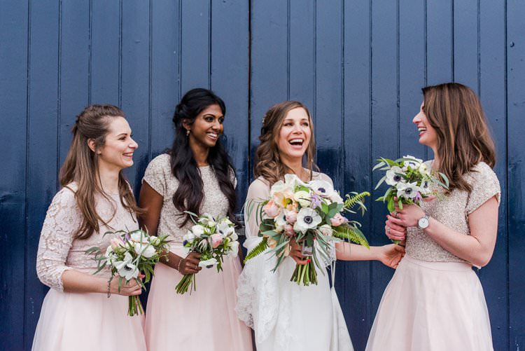 Bride Bridal Bridesmaids Blush Embellished Sassi Holford Gown Dress Bright Very Colourful Quirky Fun City Wedding London http://www.babbphoto.com/