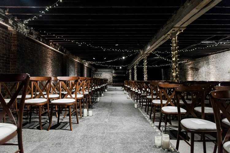 Fairy Light Pea Light Candle Ceremony Atmospheric Underground Rustic Bright Very Colourful Quirky Fun City Wedding London http://www.babbphoto.com/