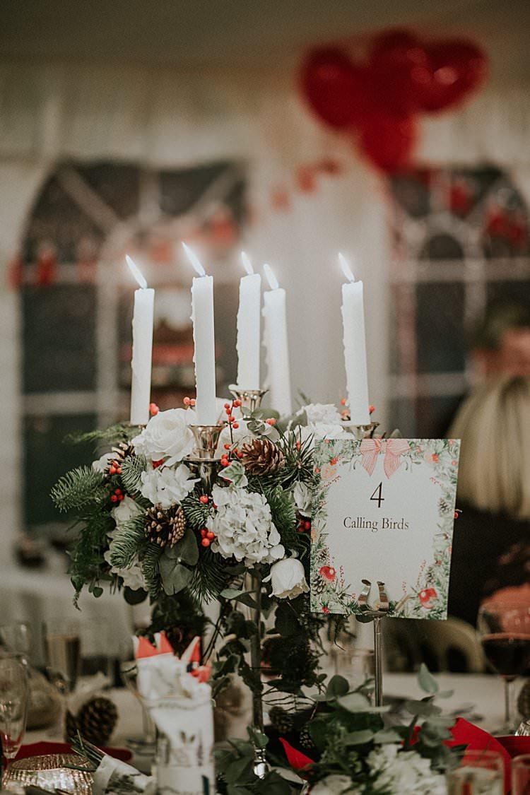 Candelabra Flowers Centrepiece Decor Table Names Traditional Christmas Wedding Red Festive https://lolarosephotography.com/