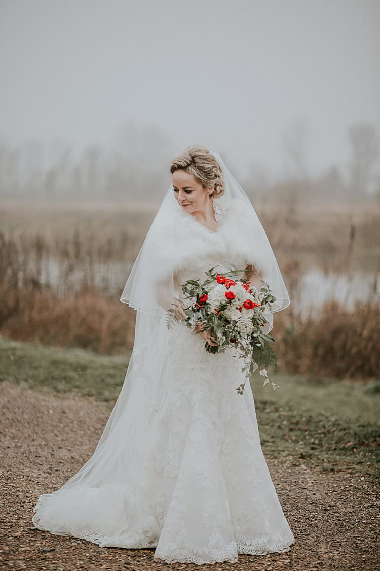 Maggie Sottero Lace Dress Gown Bride Bridal Traditional Christmas Wedding Red Festive https://lolarosephotography.com/