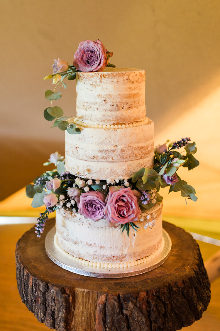 Semi Naked Buttercream Tiered Cake Floral Rose Gypsophila Wood Slice Tree Stand Darling Hand Made Tipi Garden Wedding https://www.gemmagiorgio.com/