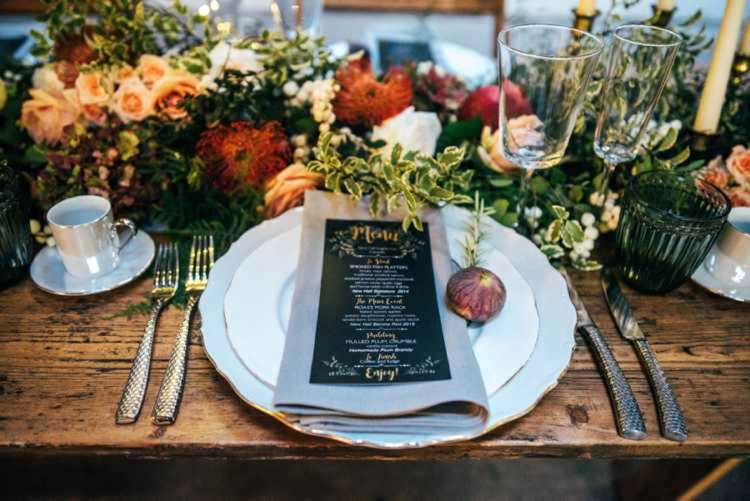 Place Setting Menu Stationery Flowers Celestial Feast Party Wedding Ideas http://www.threeflowersphotography.co.uk/