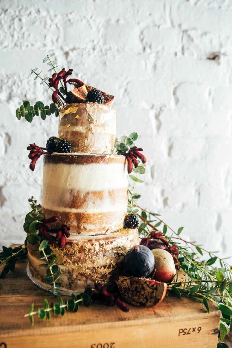 Semi Naked Cake Buttercream Sponge Fruit Flowers Celestial Feast Party Wedding Ideas http://www.threeflowersphotography.co.uk/