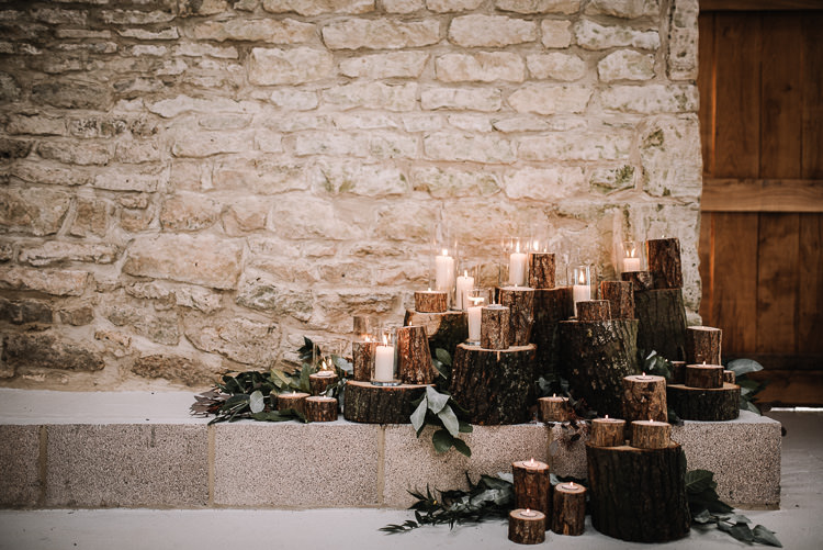 Logs Candles Decor Luxe Rustic Autumn Berry Wedding http://www.oobaloosphotography.co.uk/