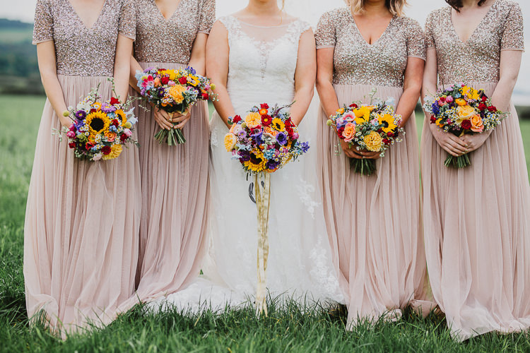 Blush Nude Sequin Bridesmaid Dresses Long Maxi Bouquets Colourful DIY Floral Luxe Barn Wedding http://www.joemather-photography.co.uk/
