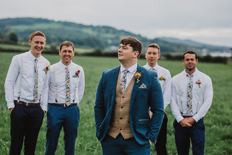 Groom Groomsmen Floral Ties Tweed Suits Braces Colourful DIY Floral Luxe Barn Wedding http://www.joemather-photography.co.uk/