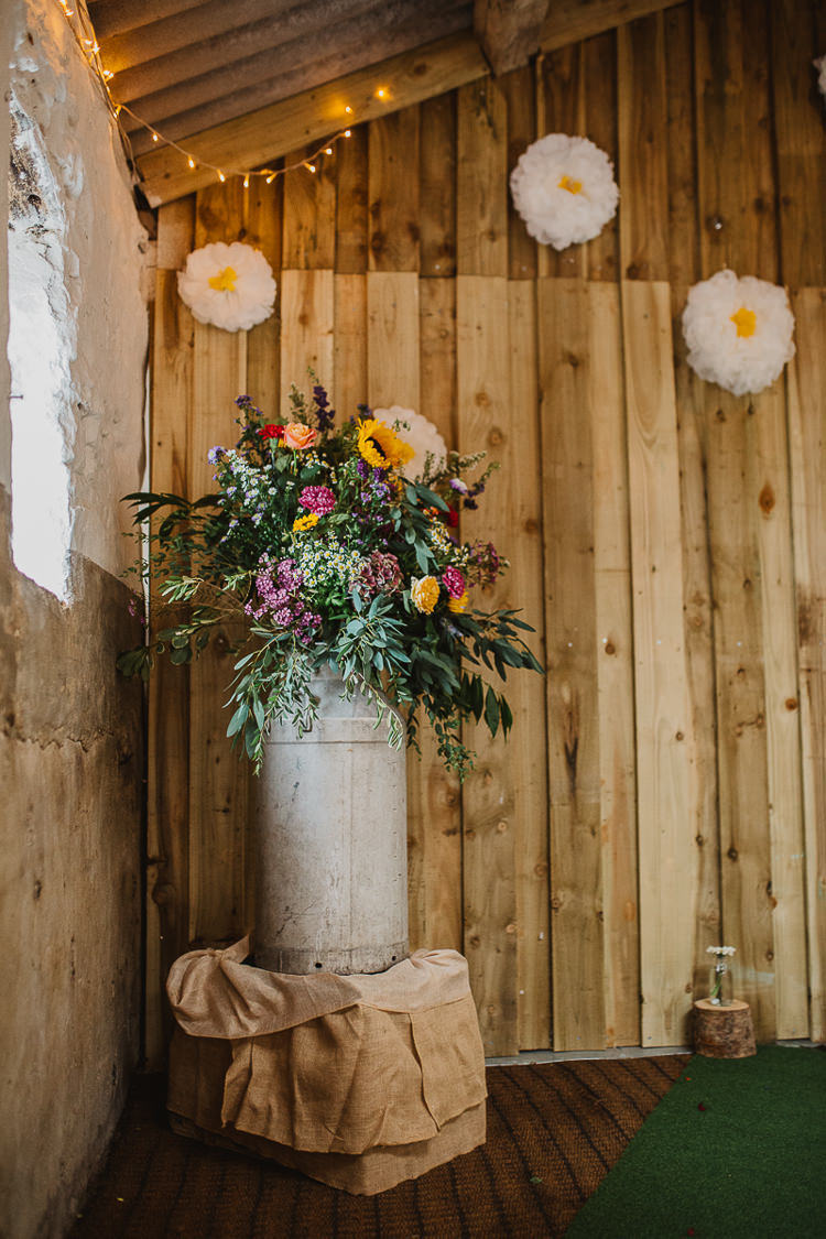 Flowers Milk Churn Colourful DIY Floral Luxe Barn Wedding http://www.joemather-photography.co.uk/