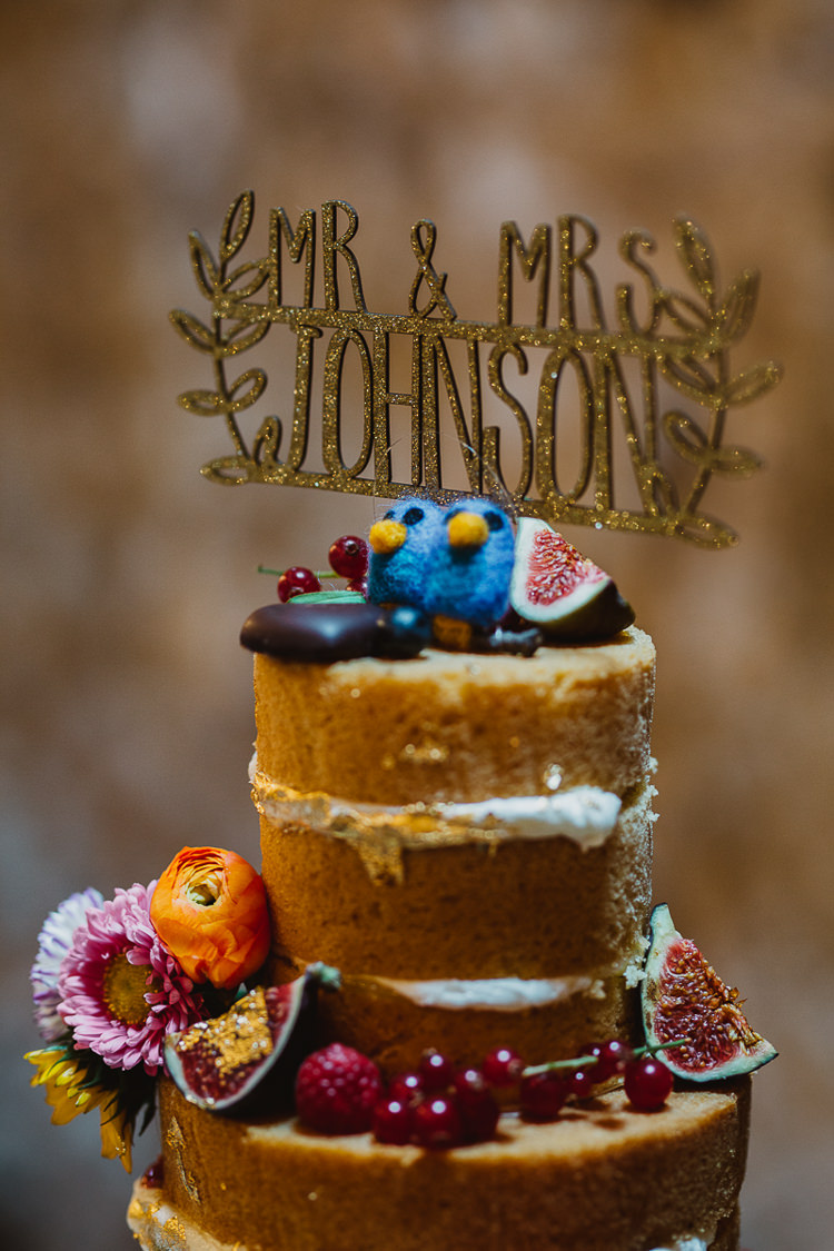 Glitter Personalised Gold Cake Topper Colourful DIY Floral Luxe Barn Wedding http://www.joemather-photography.co.uk/